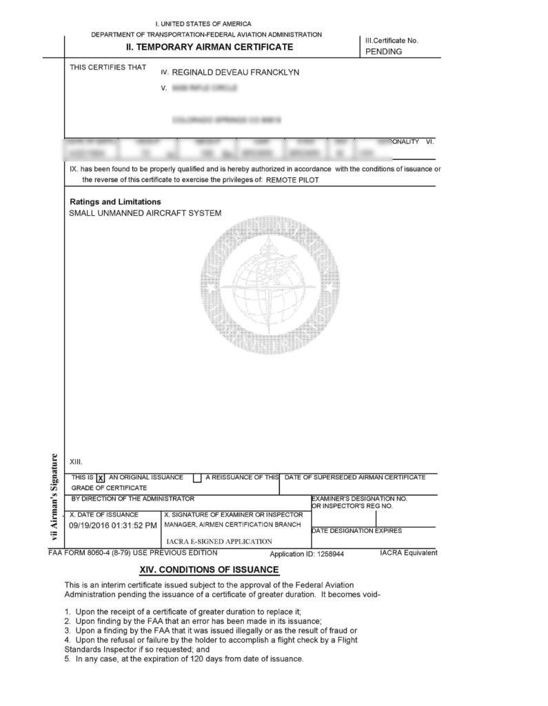 Faa uav pilot certification awarded trusted colorado photographer airman certificate 1betcityfo Images